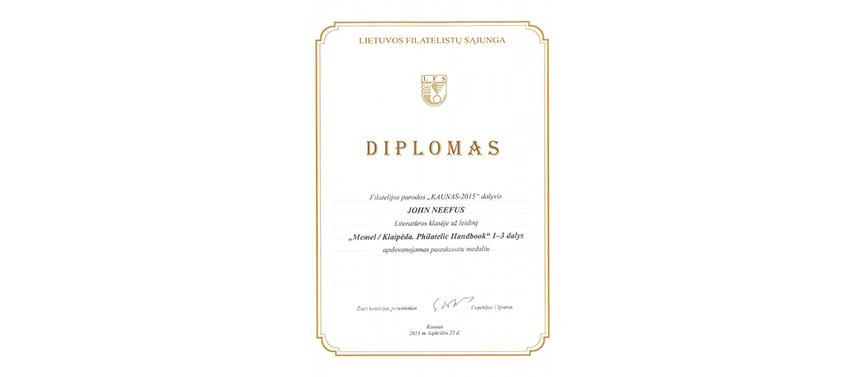 Memel / Klaipėda Philatelic Handbook awarded a Vermeil